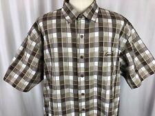 Lowrider Men's Brown Plaid Lowrider Logo Short Sleeve Button Shirt Size XXXL 3XL