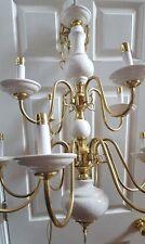 Stunning 12 Arm 12 Light polish Brass & Ivory Chandelier 31x73   crackle finish