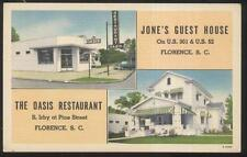 POSTCARD FLORENCE SC/SOUTH CAROLINA JONES TOURIST GUEST HOUSE & OASIS CAFE 1940s