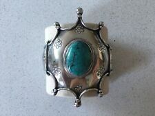 Turquoise and Sterling Silver Bracelet/ Cuff. Chunky Silver with large turqouise