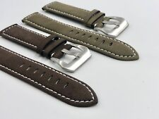 02 Straps (2) Bands 20mm Suede Leather Watch Strap Olive & Brown Fast Shipping