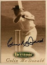 1995 FUTERA HERITAGE CRICKET COLLECTION CARD N0 23/60 SIGNED COLIN McDONALD