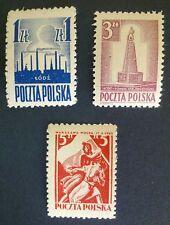 POLAND STAMPS Fi358-60 Sc365-67 Mi391-92,404 - Liberation Lodz Warsaw,1945,clean