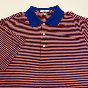 Peter Millar Men's M Blue & Orange Striped Short Sleeve Polo Golf Shirt, EUC