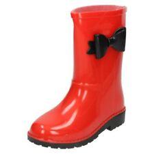 Chaussures rouges à enfiler en caoutchouc pour fille de 2 à 16 ans