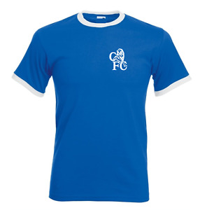Chelsea Home Away Retro Football T Shirt  Ringer Classic Vintage All Size S -XXL