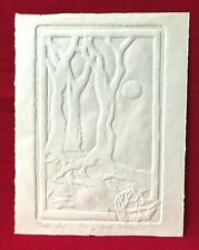 Signed Sandi Frankel 1979 Fallen Leaf Handmade Pressed Paper Art Moon Trees