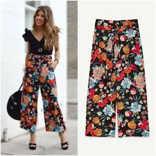ZARA MULTICOLOURED FLORAL PRINT WIDE-LEG CROPPED TROUSERS WITH BELT SIZE XS