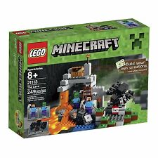 New LEGO Minecraft The Cave 21113 Playset, 2 Minifigures Steve Zombie Spider Toy