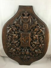 French Antique Carved Panel blason oak Wood salvaged winemaker cellar deco R