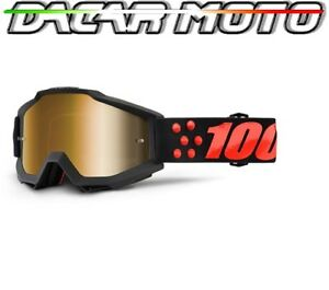 MASCHERINA OCCHIALI 100%ACCURI OFF ROAD MOTO CROSS ENDURO LENTI SPECCHIO+NEUTRAL