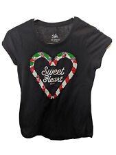 JUSTICE GIRLS T-SHIRT TOP SIZE M 12 SHORT SLEEVE COTTON SEQUIN SWEET HEART XMAS