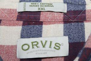ORVIS 100% Cotton Flannel Button Front Shirt Men's XXL Multicolor Plaid