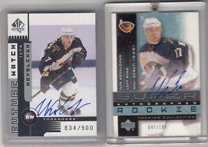 2002 Kovalchuk UD Premier Rookie /199 & SP Authentic Rookie /900