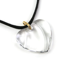 Baccarat Signed Heart Pendant / Necklace - Clear - French Crystal - NIB