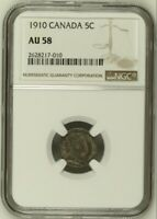 1910 Canada Silver 5 Cents NGC AU 58 Edward VII Holly Leaves Rare Variety Coin