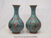 "18""Chinese Dynasty 100% Bronze cloisonne Dragon Phoenix Pot Bottle Vase Pair"