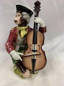 Vintage Dresden Monkey Band Figurine Cello Player 697