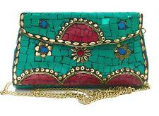 Turquoise stone Women/Girls Bridal clutch party sling bag mosaic metal bag antiq