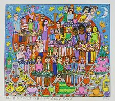 "James Rizzi  "" THE BIG APPLE IS BIG ON GOOD FOOD"" 2-D Pop Art 1999 flat print"