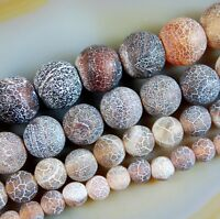 """Frosted Coffee Agate Round Beads 15"""" 6mm 8mm 10mm 12mm"""
