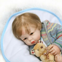 "20"" Newborn Lifelike Baby Boy Doll with bear Soft Vinyl Silicone Reborn Handmade"