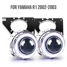 KT LED Angel Eye HID Projector Lens for Yamaha YZF R1 2002 2003 Headlight