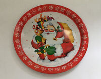 vintage round metal serving tray santa with presents graphics made in Hong Kong