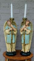 PAIR antique church altar religious chalkware archangel figurine candle holder