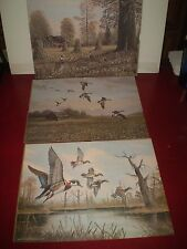 "3 VINTAGE 1977 HTF JESSE BARNES PRINTS DUCKS GEESE GROUSE 11"" X 14""  EUC"