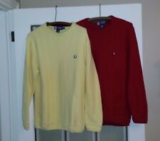 CHAPS Cotton Sweater Set of 2 Red and Yellow Size Small Crew Neck