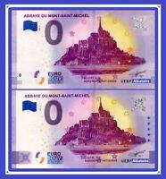 LOT 2 Billets Touristique Souvenir 0 Euro Mont-Saint-Michel 2020 Anniversary