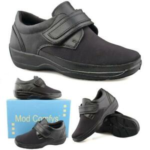 Wide Fitting EEE Black Leather Touch Fastening Shoes