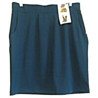 Riders By Lee  Dark Wash Navy Pull On Skirt Size 14 M Pleats & 2 Pockets NEW W T
