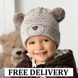 BEANIE boys hat winter warm autumn Knitted BOY KIDS 2-4 years CAP bear POM POM