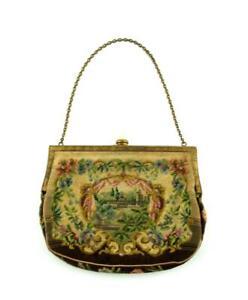 Antique Tapestry Handbag Bag  Chain Handle  Steel Cut Beads
