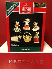 Hallmark 1992 Sew, Sew Tiny Set Of 6 Mice Miniature Ornaments