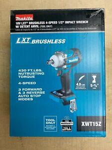 """Makita XWT15Z 18V LXT Li-Ion 4 Spd 1/2"""" Sq. Drive Impact w/Detent Tool Only New"""