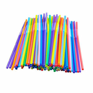 100Pcs Super Extra Bendy Long Mega Drinking Straws Coloured Special Bar Home