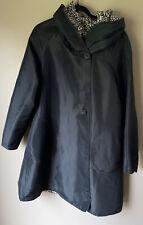 UbU Reversible Accordion Hooded Raincoat Solid Black or Cheetah Print-Medium