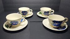 Blue Ridge Southern Potteries Pinkie Cups & Saucers Blue Lot of 4