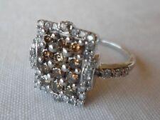 10K White Gold White Champagne Diamond Tablet Ring - Size 7, 0.59 carat