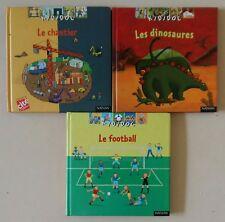 Lot de 3 livres Kididoc Chantier Dinosaures Football