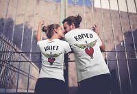 Romeo Juliet Back Logo Trendy Couple Matching Men's Women's Cotton T-Shirt Top