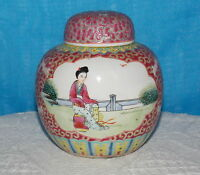 Chinese Oriental Ginger Jar & CORK Stopper Hand Painted Sgraffito Famille Rose