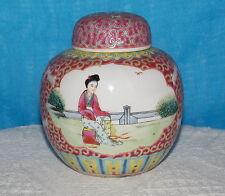 Rispettabile Giara in porcellana per lo Zenzero & TAPPO IN SUGHERO cinese Jingdezhen FAMILLE ROSE