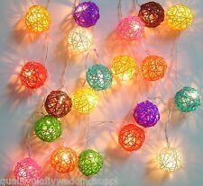 UK Stock Solar Sun Powered Multi Colour Rattan Ball LED Fairy Light 20 Lights