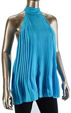 NWT Alice and Olivia 100% Silk Turquoise 360 Tie Neck Pleat Top M Retail $242