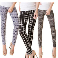 Women Ladies Check Striped Stretchy Slim Leggings Pants Trousers Size 6 8 10 12