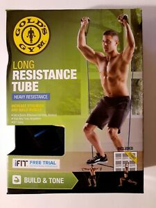 "Gold's Gym Long Resistance Tube, 61"", Heavy Resistance Increase Strength"